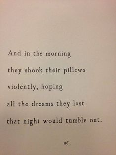 And in the morning they shook their pillows violently, hoping all the dreams they lost that night would tumble out.
