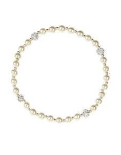 Sterling Silver Pearl And Pave Ball Stretch Bracelet
