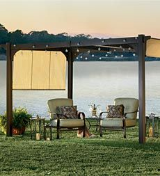 simple pergola with lights
