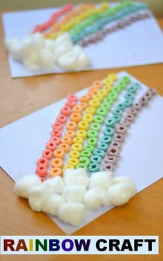 Rainbow Craft for Kids ~ St. Patricks Day cereal and cotton ball rainbow for…