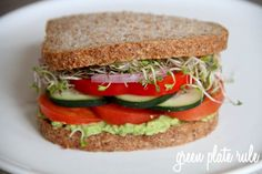 Veggie Sandwich with Avocado Spread - turn into a wrap, and it becomes an easy dinner to take to work =D