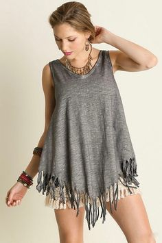 https://alittlebirdboutique.com/collections/tops/products/loosely-based-tank  Loosely Based Tank- $39.00 Dark gray heathered tank, v-neck and back, slightly oversized, and fringed hem.  65%Cotton 35%Polyester