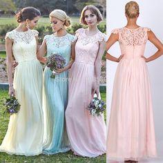 Light Yellow Blue Pink Grey Green Lace Cap Sleeve Long Bridesmaid Dresses 2016 Vestido De Festa Longo for Wedding Guests B2348