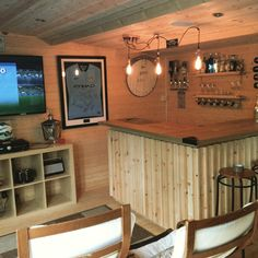 After a remodel of the house we decided to Fit out our Dunster House Shed in the garden to create an office and chill out space Daniel Mclean Diy Home Bar, Home Pub, Bars For Home, Garden Bar Shed, Summer House Garden, Man Cave In Garden, Man Cave Room, Man Cave Home Bar, Man Cave Pub