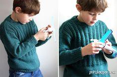 Кофточка для мальчика спицами с рельефной резинкой