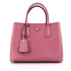 37d662357d0a Pre-Owned Cuir Double Tote Saffiano Leather Medium (540 KWD) ❤ liked on  Polyvore featuring bags