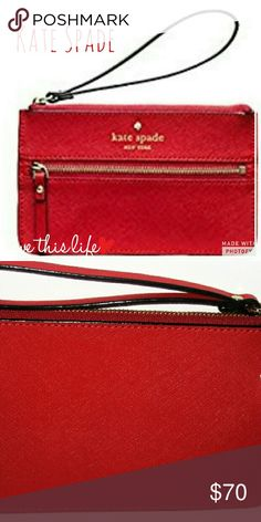 NWT Kate Soade Mikas Pond B Wristlet Purchase directly from Kate Spade and still wrapped in plastic. Guaranteed authentic and price is firm. Saffiano leather. kate spade Bags Clutches & Wristlets
