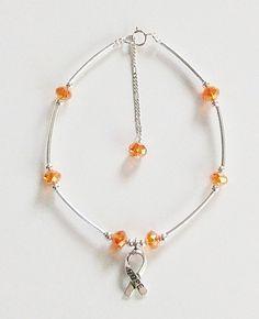 Leukemia Awareness Hope Anklet / Bracelet Orange by montanajewel, $12.00