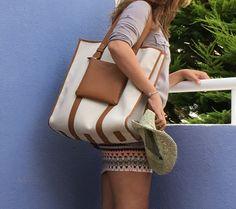 Belber Greenwich canvas tote in beige / tan, ready to rock the Mediterranean summer!
