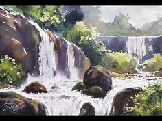 How To Make Cascade(Waterfall) In Watercolour by Sunil LinusDe Watercolor Video, Watercolor Water, Watercolour Tutorials, Watercolor Artwork, Watercolor Techniques, Watercolor Landscape, Landscape Paintings, Painting Tutorials, Hall Painting