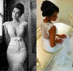 2013 Sexy Cap Sleeves Deep V Neck Lace tulle Mermaid vintage Wedding Dresses vestido de noiva Beaded Bridal Gown free shipping $259.99