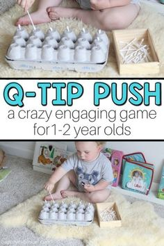 Q-tip Push: A Fun Baby Activity - baby aktivitäten - Baby Activities Activities For 1 Year Olds, Toddler Learning Activities, Games For Toddlers, Montessori Activities, Baby Learning, Infant Activities, Fun Activities, 1year Old Activities, Games For Babies