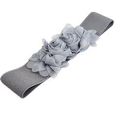 Topro Double Chiffon Flower Buckle Style Elastic Cinch Corset Waist Belt