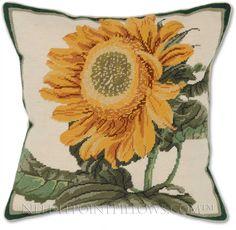 Sunflower Summertime Needlepoint Pillow - Floral Pillows at NeedlepointPillows.com Nautical Pillows, Gold Pillows, Floral Pillows, Throw Pillows, Needlepoint Pillows, Needlepoint Patterns, Stitching Patterns, Cross Stitching, Pottery Barn