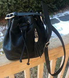Vintage Leather Handbag 1980s Fashion Long Strap Tassel Detail Ebay