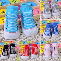 $.97// Baby Sneaker Socks// Size: 0-12 months// Delivery: 2-6 weeks