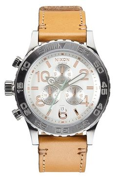 Nixon+'42-20+Chrono'+Leather+Strap+Watch,+42mm+available+at+#Nordstrom