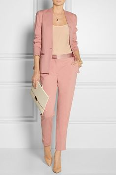By Malene Birger - Brinda satin-trimmed stretch-jersey blazer Business Outfit Frau, Business Outfits, Business Attire, Business Suits For Women, Fashion Mode, Office Fashion, Work Fashion, Womens Fashion, Fashion Design