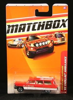 '63 CADILLAC AMBULANCE Emergency Response Series (#5 of 8) MATCHBOX 2010 Basic Die-Cast Vehicle (#55 of 100) by Mattel. $6.99. From Mattel. '63 CADILLAC AMBULANCE Emergency Response Series (#5 of 8) MATCHBOX 2010 Basic Die-Cast Vehicle (#55 of 100). Vehicle measures approximately 3 inches long.. Ages 3 and up.. The Hollywood back lot is stacked with classics, but the '63 Cadillac Ambulance gets all the attention. This one-of-a-kind high-top was custom-made by C...