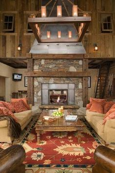 Beautiful Rustic Living Room With A Gorgeous Stone Fireplace Love The Aztec Colors
