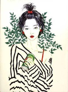 Pin by yellow menace on all asian - all ways illustration art, portrait art, learn Korean Art, Asian Art, Arte Fashion, Art Asiatique, Art Pop, Aesthetic Art, Korean Aesthetic, Art Sketchbook, Portrait Art