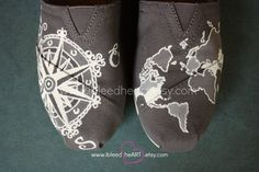 Custom Painted TOMS Shoes  Travel Compass and World
