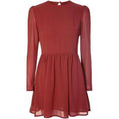 Rust Chiffon Skater Dress (48,355 KRW) ❤ liked on Polyvore featuring dresses, burgundy, chiffon skater dress, burgundy long sleeve dress, red sheer dress, keyhole dress и red dress