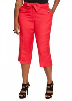Ashley Stewart Women's Plus Size Whipstitch Linen Crop Pant