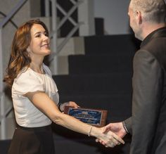Crown Princess Mary presented the Cancer Council Merit Award at the Royal Danish Playhouse in Copenhagen on the occasion of World Cancer Day.04/02/2015