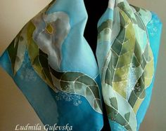 Natural silk hand painted scarf purple floral by Studijakalla