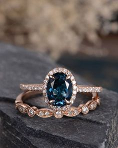 London Blue Topaz Wedding Ring Set Rose Gold Engagement Ring Bridal Sets Wedding Band Women Art Deco Antique Oval Cut Diamond Birthstone