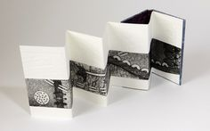 Annwynn Dean uses paper, embroidery fragments, paint and stitch with collagraphic prints in her bookmaking practice.