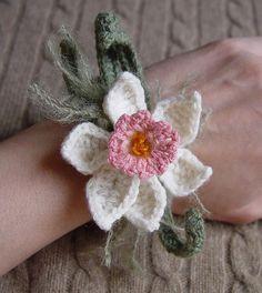 Crochet Pink Daffodil Flower Cuff Bracelet by meekssandygirl, via Flickr