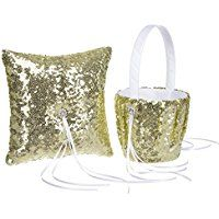 Remedios Fashion Sequin Wedding Flower Girl Baset and Ring Bearer Pillow, Gold