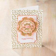 Love the flower centerpiece on this card made with the Floral Framelits from Stampin' Up! Check out the Big Shot Promotion.