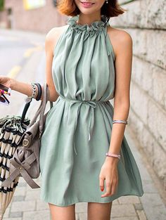 Cute Ruffle Collar Belted Solid Color Dress For Women