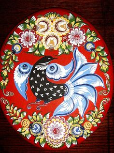 Folk Gorodets painting from Russia. Floral pattern with a bird. #art #folk #painting #Russian