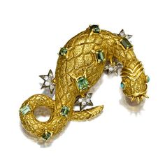 """A green tourmaline, turquoise and diamond """"salamander"""" brooch, Jean Schlumberger, Tiffany & Co."""