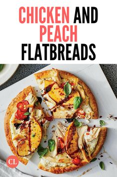 Premade pizza crusts are a lifesaver for the busy weeknight cook. Here they provide a filling base for these outside-the-box pizzas. Delicious Meals, Yummy Food, Cooking Light Recipes, Crusts, Pizza Recipes, Vegetable Pizza, Peach, Base, Kid