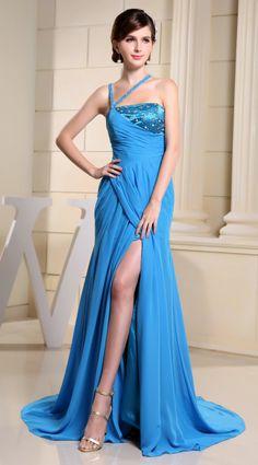 Trendy Design Beaded Front Split Blue Prom Dress