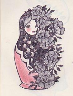 matrioshka, maybe half covered by fern instead Pretty Tattoos, Beautiful Tattoos, Cool Tattoos, Russian Doll Tattoo, Nesting Doll Tattoo, Inspiration Artistique, Dibujos Tattoo, Aquarell Tattoo, Tattoo Feminina