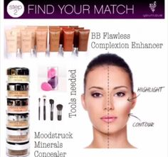 NEW! Younique's Steps to Beauty! Step 2 - Find Your Match! Younique's BB Flawless Complexion Enhancer and Moodstruck Minerals Concealer! Don't forget your tools - Younique's Blending Buds and Face Brushes will have you covered!