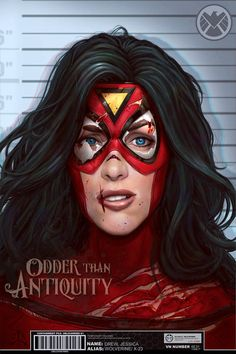 Marvel Comics Spider Woman Jessica Drew Lineup May Mugshot Illustration Jacob Sparks Poster Print Spiderwoman - 3 Sizes Available Marvel Dc, Marvel Comic Universe, Marvel Comics Art, Marvel Girls, Marvel Comic Books, Comic Movies, Comics Girls, Comic Book Characters, Marvel Heroes