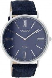 Oozoo Ultra Slim Vintage Herrenuhr C7701 - dunkelblau - 44 mm - Lederband