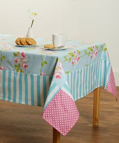 Striped & Polka Dot Floral Tablecloth