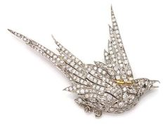 Antique Diamond Bird Brooch   Platinum, the soaring bird set throughout with numerous small old European-cut diamonds, with maker's mark and French assay mark, # 30251, with repair on wing, circa 1900, approximately 9 dwt.