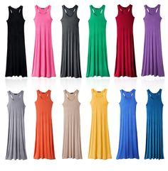 Free Shipping Women Long Maxi Tank Top Dress Summer Lady Sleeveless Vest Sexy Dress JY01C $9.99