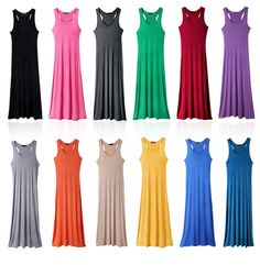 Free Shipping Women Long Maxi Tank Top Dress Summer Lady Sleeveless Vest Sexy Dress JY01C $9.99