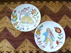 Pair of Vintage Folk Art Handpainted Plates Musician Couple by lookonmytreasures on Etsy