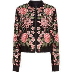 Needle & Thread Black Rose Embroidered Bomber Jacket (€140) ❤ liked on Polyvore featuring outerwear, jackets, coats, tops, coats & jackets, flight jacket, bomber jackets, light weight jacket, style bomber jacket and long sleeve jacket